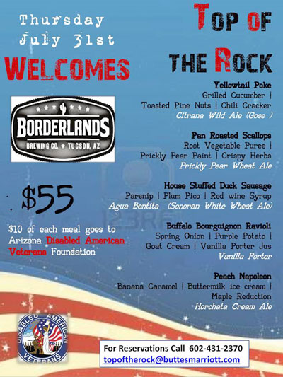 July 31 Borderlands Dinner At Top Of The Rock In Tempe