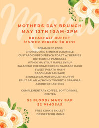 May 12: Mother's Day brunch buffet at The Hungry Monk in Chandler