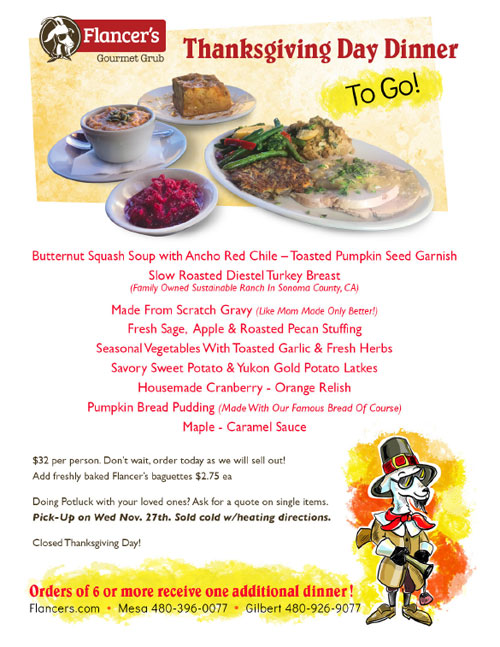 Flancer S Offers Early Bird Special On Thanksgiving Dinners To Go Mouth By Southwest